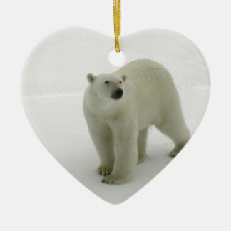 Polar Bear on the Arctic ice Ceramic Heart Decoration