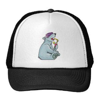 polar bear on vacation mesh hats