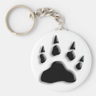 Polar Bear Paw Print Basic Round Button Key Ring