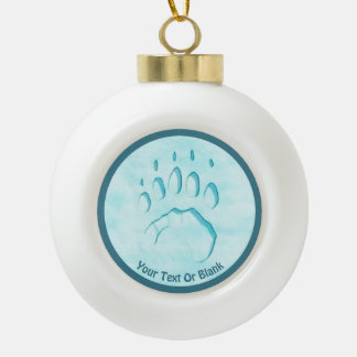 Polar Bear Paw Print Ceramic Ball Christmas Ornament