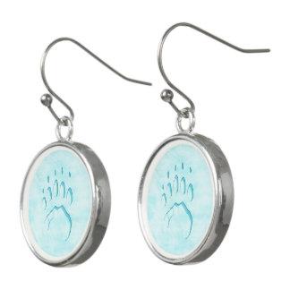 Polar Bear Paw Print Earrings