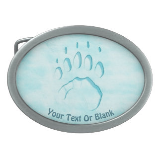Polar Bear Paw Print Oval Belt Buckle