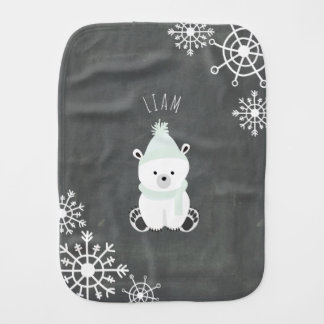 Polar Bear Personalized Baby Burp Cloth - Green