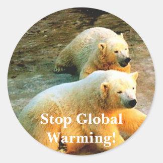 Polar Bear Photo. Stop Global Warming! Classic Round Sticker