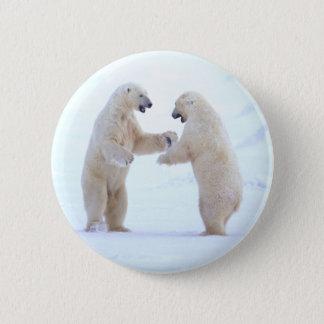 Polar Bear Play 6 Cm Round Badge
