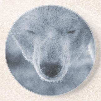Polar Bear Portrait Sandstone Coaster