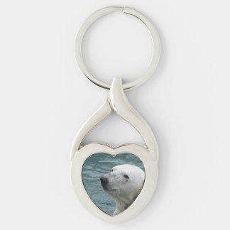 Polar Bear Profile Silver-Colored Twisted Heart Key Ring