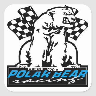Polar Bear Racing Square Stickers