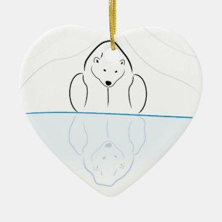 Polar bear Reflection on global warming Ceramic Heart Decoration