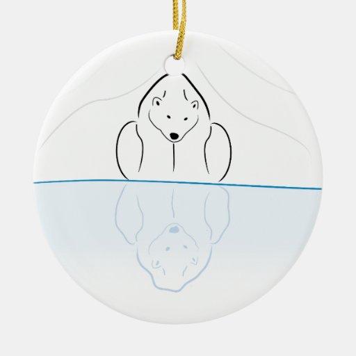 Polar bear Reflection on global warming Christmas Ornaments