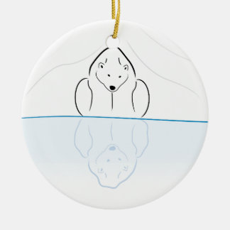 Polar bear Reflection on global warming Round Ceramic Decoration