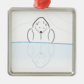 Polar bear Reflection on global warming Silver-Colored Square Decoration