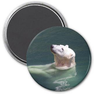 Polar bear resting 7.5 cm round magnet