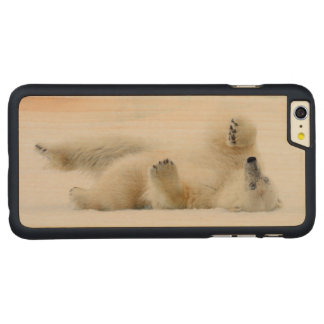 Polar bear rolling in snow, Norway Carved® Maple iPhone 6 Plus Case