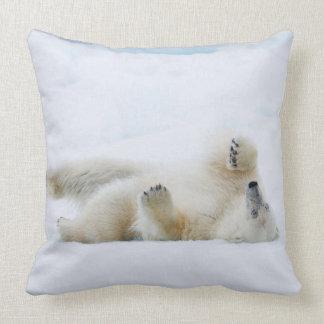 Polar bear rolling in snow, Norway Throw Pillow