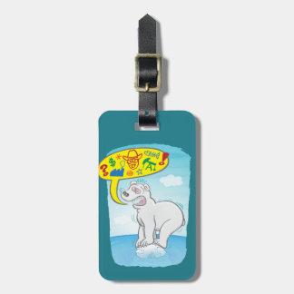 Polar bear saying bad words standing on tiny ice luggage tag
