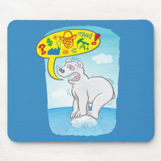 Polar bear saying bad words standing on tiny ice mouse mat