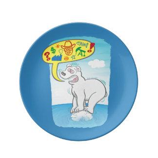 Polar bear saying bad words standing on tiny ice plate