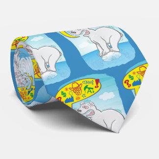 Polar bear saying bad words standing on tiny ice tie