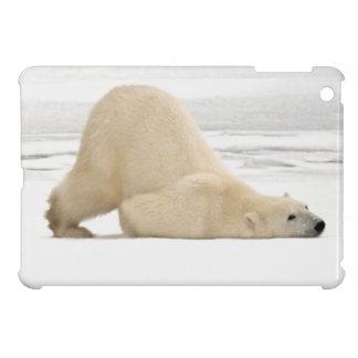 Polar bear scratching itself on frozen tundra iPad mini cover