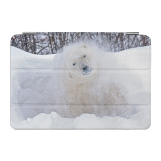 Polar bear shaking snow off on frozen tundra iPad mini cover