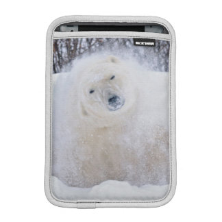 Polar bear shaking snow off on frozen tundra iPad mini sleeve