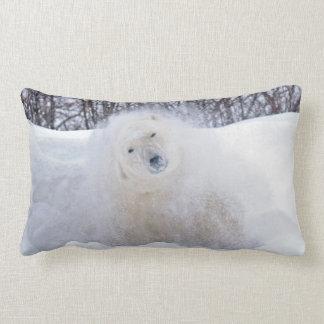 Polar bear shaking snow off on frozen tundra lumbar pillow