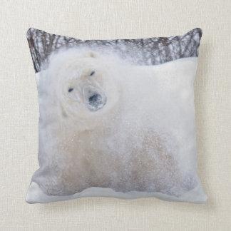 Polar bear shaking snow off on frozen tundra throw pillow