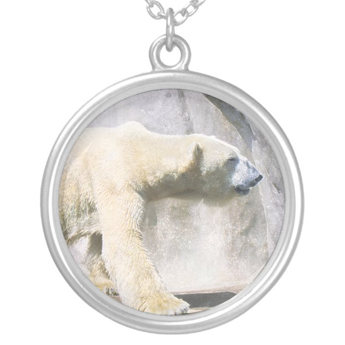 polar bear silver plated necklace