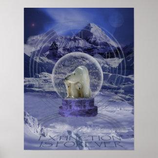 Polar Bear Snow Globe copy Poster