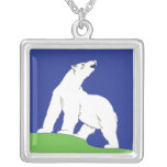Polar Bear Square Pendant Necklace