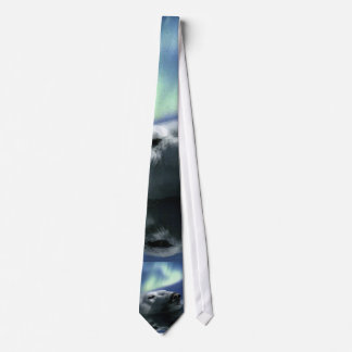 Polar Bear Swimming in Arctic Waters and Aurora Tie