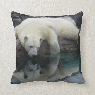 Polar Bear Throw Pillow. Wildlife Photography Cushion