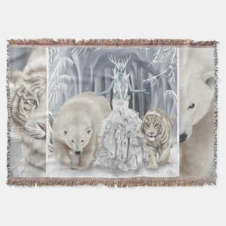 Polar Bear Tiger Winter Queen - Thrown Blanket