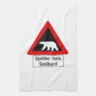 Polar Bear, Traffic Sign, Norway Tea Towel