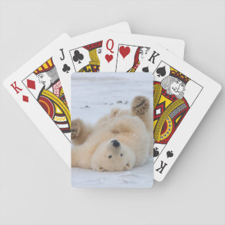 polar bear, Ursus maritimus, cub rolling 3 Playing Cards
