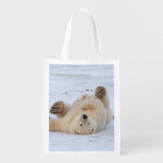 polar bear, Ursus maritimus, cub rolling 3 Reusable Grocery Bag