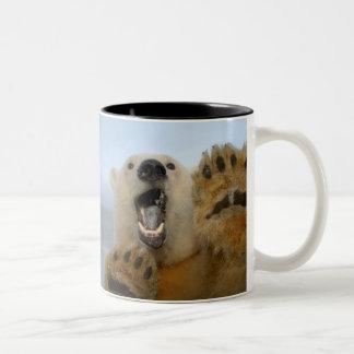 polar bear, Ursus maritimus, curiously looks in 2 Two-Tone Mug