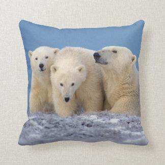 polar bear, Ursus maritimus, sow with cubs Throw Pillow