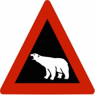 Polar Bear warning sign Photo Sculptures