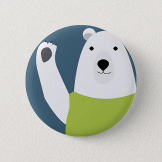 Polar Bear Waving 6 Cm Round Badge