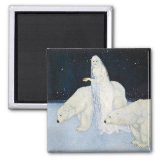 Polar Bear Winter Magic Fridge Magnet Edmund Dulac