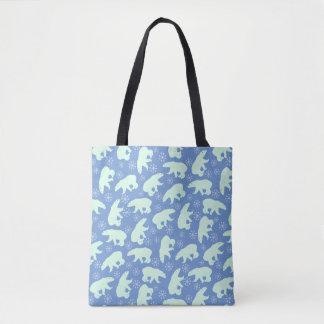 Polar Bear Winter Pattern Tote Bag