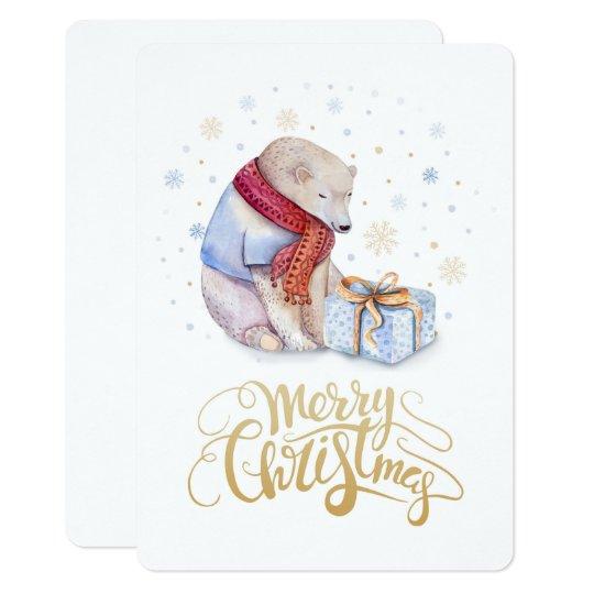 Polar Bear Winter Snow Merry Christmas Card