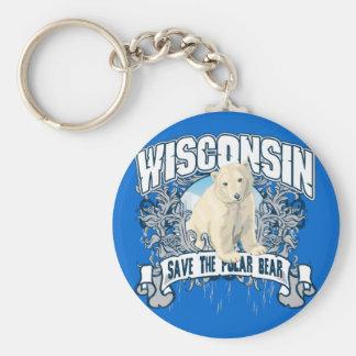 Polar Bear Wisconsin Key Ring