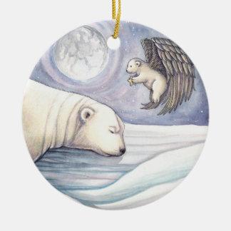 Polar Bear with Angel Christmas Ornament