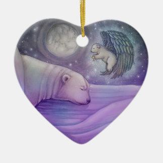 Polar Bear with Angel Holiday Ornament