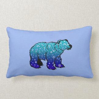 Polar Bear with Snowflakes Pillow