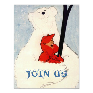 POLAR BEAR WOMAN'S SKIING BIRTHDAY PARTY INVITE