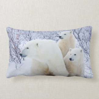 Polar Bears and Two cubs Lumbar Cushion